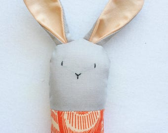 Gray and Orange Bunny Rattle - Soft Baby Toy
