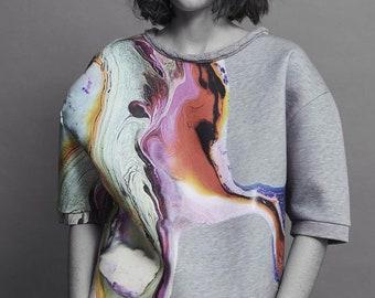 Sweatshirt gris imprimé motif digital