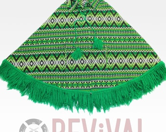 Vintage Mexican Green Poncho ~ Size OSFA