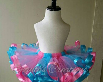 Pink, and turquoise ribbon trimmed tutu ONLY; Gender reveal tutu