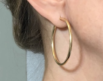 14K Gold-Filled HOOPs - 2.3mm Tube Earring - Yellow gold - Self-locking - Post Hinged and Catch Design - Continuous Endless