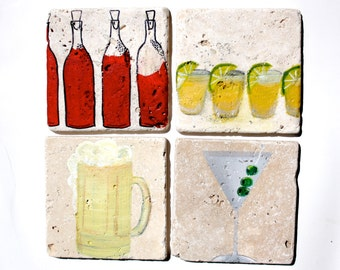 COCKTAIL COASTERS - Wine, Tequila, Martini, Beer - Set of 4Tile Coasters