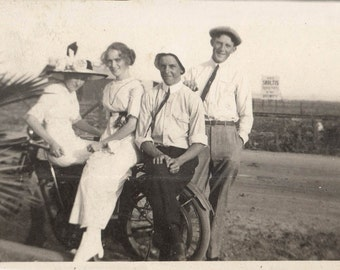 vintage photo Four Young People Sit on Harley Davidson Motorcycle Big Hats