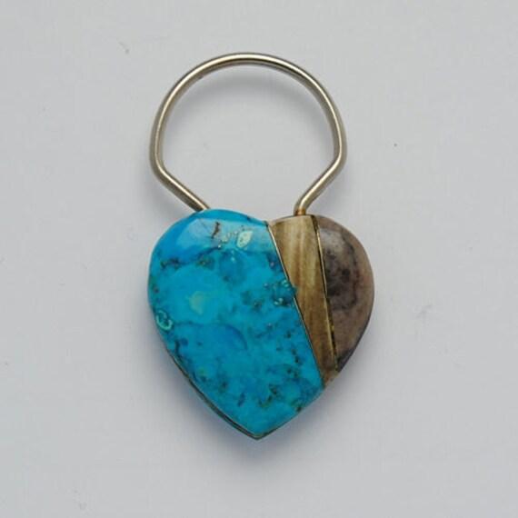 Porte clés coeur en turquoise