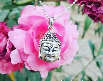 Buddha Necklace Buddha Pendant Buddha Charm Silver Buddha Necklace Buddhist Necklace Ruby Necklace Spiritual Necklace Yoga Necklace