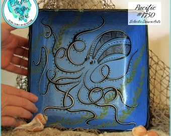 Octopus Bowl, Handpainted Wood, *blue, teal, green*, Pacific: #1750