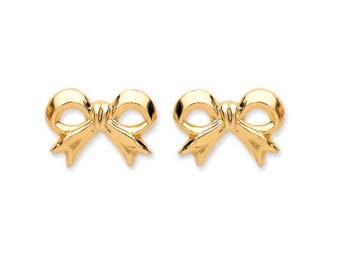 9ct Yellow Gold Bow Stud Earrings