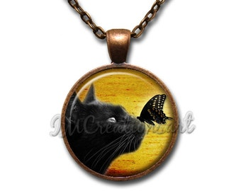 Black Cat Butterfly Glass Dome Pendant or with Chain Link Necklace