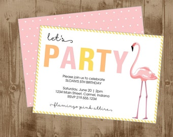 Printable Flamingo Party Invite - Modern - Summer - Pink Orange Yellow - Flamingle