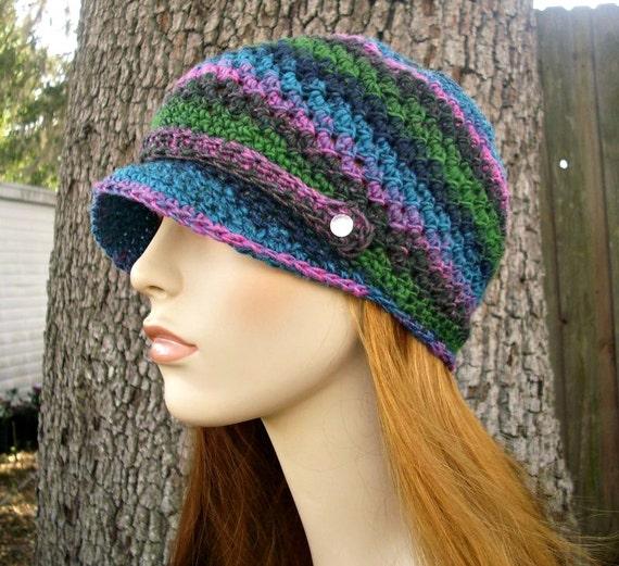 Crochet Hat Womens Hat - Chesapeake Beanie With Visor in Aura Blue Green Pink Crochet Hat - Womens Accessories