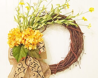 summer door wreath, summer wreath, spring wreath, summer decor, wreath, hydrangea wreath, yellow wreath