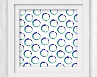 """Enso, Zen Circle, Pattern Art, Large sizes, royal blue, zen decor, INSTANT DOWNLOAD, Digital, """"Enso Of Zen 19B Kathy Morton Stanion"""