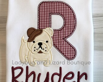 Bulldog Puppy Letter or Number with Monogram Short/Long Sleeve White Top Sizes 12M-18M, 2T-5T, 6