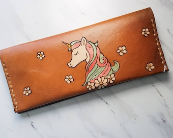 Women's leather wallet / leather unicorn wallet / floral wallet / gift for her
