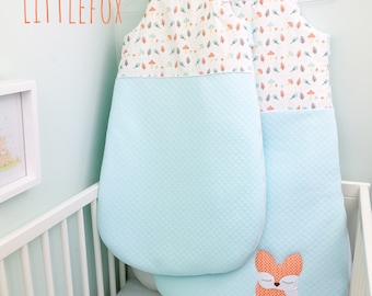 baby sleeping bag, Blue mint, orange and yellow