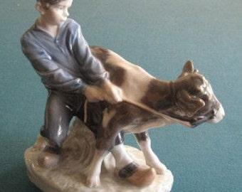 Royal Copenhagen Figurine Titled Boy with Cow #772 c1960s