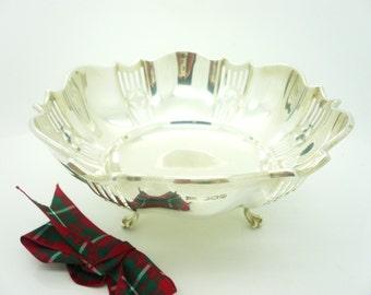 Silver Bowl, Sterling, English, Pierced Work, Vintage, Solid, Hallmarked Sheffield 1929, Walker & Hall, REF:225P