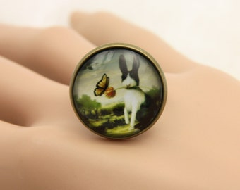 Rabbit Ring, Animal Ring, cabochon Ring, Adjustable Ring, Statement Ring, (2020B)