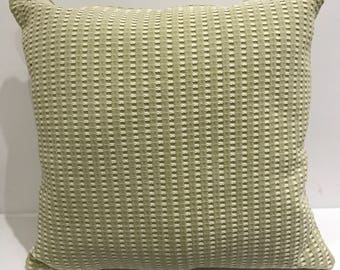 Thick woven cushion cover light green and white - 20x20in