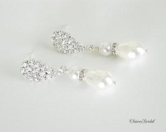 Crystal Bridal Earrings Pearl Wedding Jewelry Swarovski Pearl Earrings Bridal Jewelry
