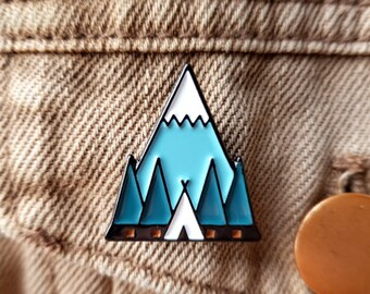 Tent Enamel Pin Lapel Pin Badge Camping Mountain Forest Trees Adventure Pin by OR8 DESIGN
