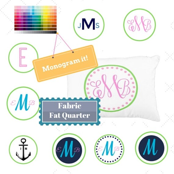 Monogram Custom Fabric Fat Quarter Home Decor Fabric - DIY, Gift, Linen, Cotton, Minky, Organic Cotton