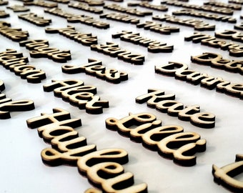 Laser Cut Place Settings - Set Of 10 - Laser Cut Names - Wedding Reception - Natural Finish Wood - Guest Seating - Wedding Seating - Wedding