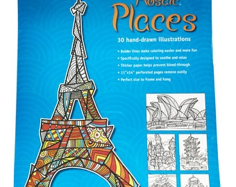 Mosaic Places Adult Coloring Book 11x14