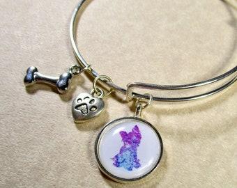 Yorkshire Terrier Bangle, Yorkie Bracelet, Yorkie Jewelry, Yorkie Gifts, Yorky Gifts, Yorkie Expand It, Yorkie Mom Gifts, Gifts with Yorkie