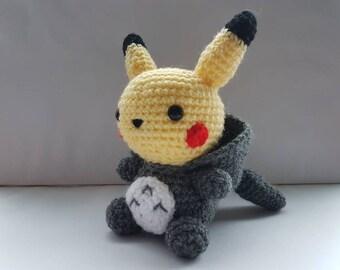 Totoro Azul Amigurumi : Pikachu amigurumi crochet keyring pokemon inspired chibi