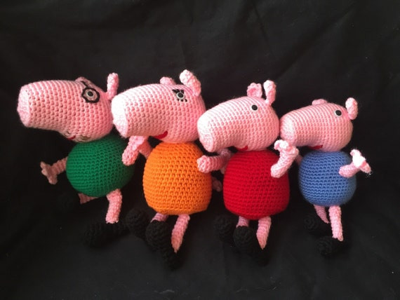 Amigurumi Pig : Peppa pig inspired family daddy pig mommy pig peppa george