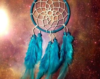 Blue dream catcher, faux suede, blue feathers, white web and & glass bead finish 7cm diameter dreamcatcher hand made