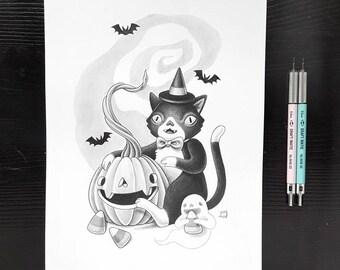 Halloween by Grelin Machin - original drawing on paper
