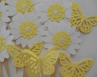 Butterfly and Flower Cupcake Toppers - Yellow and White - Baby Shower Decorations - Birthday Party Decorations - Set of 12