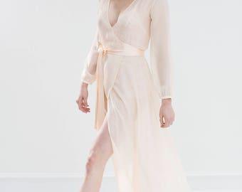 Olivia Macrame Lace   Silk Chiffon Robe ivory champagne dove 7f68a30b1