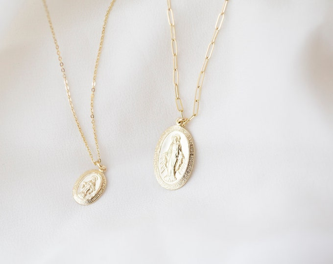 14K solid gold Virgin Mary Necklace / Catholic Necklaces Virgin Mary Oval disc necklace/ Religious Pendant Charm necklace in 14K solid gold