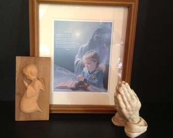 Jesus with young praying boy print & wooden angel plaque and plaster praying hands