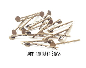 25 pieces - Antiqued Brass - Bobby Pins - 10mm - 2 inch length - Round Pad - Antique Bronze