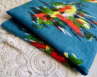 Vintage FRENCH ABSTRACT FABRIC, Brush Stroked Colors on a Teal Blue Background. Mid Century Cloth. Marked: Armorial. L 65cm x W 116cm.