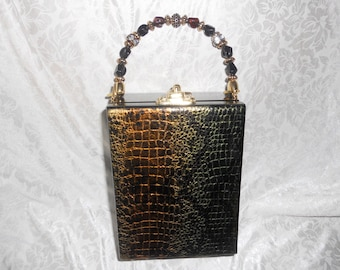Cigarbox Purse, Metallic embossed snake leather print, Tina Marie Purse Purse, Black Green Gold
