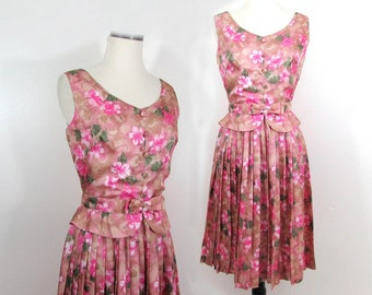1960s silky floral dress - pinks and tans - pleated skirt - From London - S-M