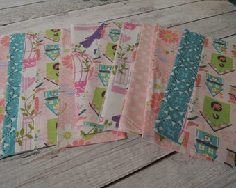 SALE, Fabric Grab Bag, All Birdhouse and Floral Fabrics, 20 pieces, Bag CZ24