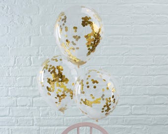 Gold Confetti Filled Balloons - Wedding, Engagement, Birthday, Anniversary Decor, Baby Shower