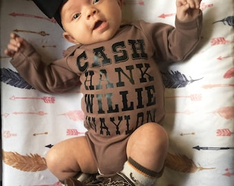 Baby Clothes - Cash Hank Willie & Waylon - Cute Baby Girl Clothes - Cute Baby Clothes - Trendy Clothes - Cute Baby Boy Clothes