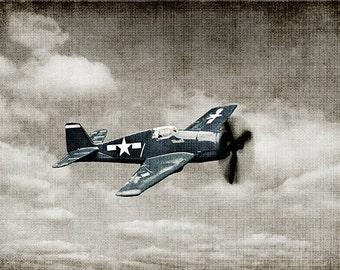 Vintage WWII Prop Plane Blue Fighter Photo Print, Man Cave, Boy Nursery Art, Airplane Prints