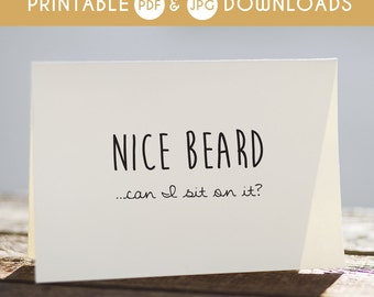 printable valentines card, card for boyfriend, valentines for boyfriend, nice beard card, funny valentines
