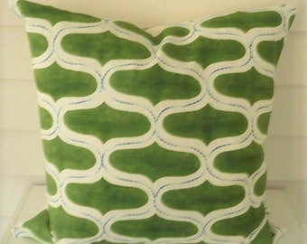 Juhu Hand Block Printed and Hand Embroidered Pillow Cover in Panna Green