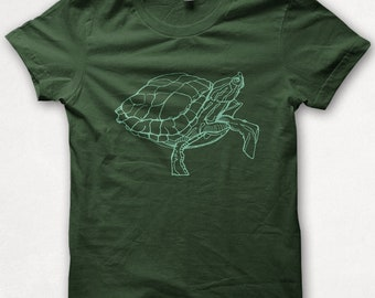 Kids Tshirt Painted Turtle Shirt Boys Graphic Tee Girls Shirt Screenprinted Childrens Clothing - Forest Green