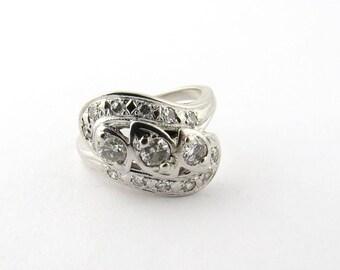 Vintage 14k White Gold .80ct TWT Diamond Dinner Ring Size 5.5 #372