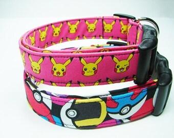 Pokemon Pink & Poke Ball  Dog Collars